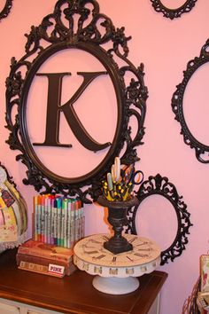 I like this idea for a wall collage and also for my girls' rooms in different colors!