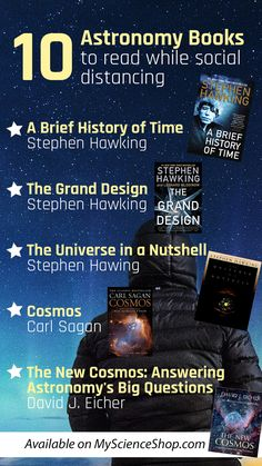 Looking for activities to do while social distancing? Reading is an easy and fun thing to do to pass the time. Pick up a new astronomy book during quarantine. These astronomy books for adults will pass the time. All these covers are available on MyScienceShop. #Cover #Best #Reading Top Books To Read, Fantasy Books To Read, Good Books, Best Science Books, Science Writing, Best Books For Men, Books For Teens, Book Suggestions, Book Recommendations