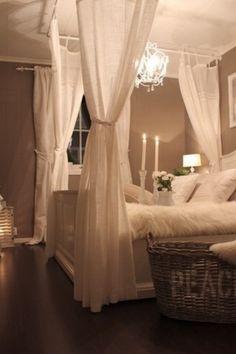 Curtains around bed
