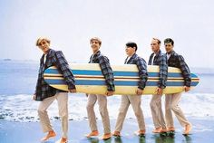 The Beach Boys, cover of Surfer Girl, 1963.  (The Boys are wearing matching plaid Pendleton shirts.)