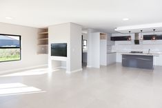 1058 on Schapejacht - Crontech Consulting Building Architecture, Interior Architecture, Interior Design, Bulkhead Ceiling, Grey Gloss Kitchen, Built In Braai, Shelf Display, Modern Shelving, Country Estate