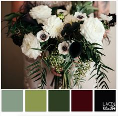 Lace and Lilies - Love the black, add orchids and dripping black, maroon flowers instead of large white roses, more grey-green  eucalyptus