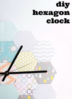 Akways wanted to make a clock! I sense one for each room lol. DIY Hexagon Clock by owens olivia Glue Crafts, Diy Arts And Crafts, Diy Crafts, Fabric Pen, Fabric Scraps, Scrap Fabric, Diy Projects To Try, Craft Projects, Craft Ideas