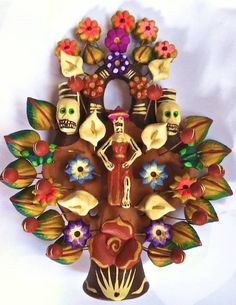 Arbol de Muertos, Tree of Life with #Catrina and intricate display of flora and fauna. Made in Metepec, Mexico. About 8 inches tall, painted with acrylic paints.
