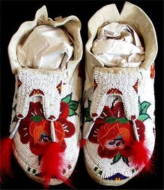 C.1965. Eastern Shoshone beaded moccasins from Wind River Reservation.