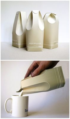 A fine example of FORM follows FUNCTION.   The folds in the back of the package function as a handle for pouring, while the two folds in front function as the spout. Beautiful, efficient, clever and simple design.