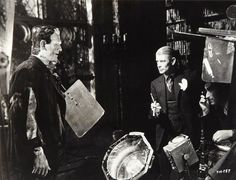 """""""I didn't begin my stage or my screen career with the idea of becoming a horror character but the chance which led me into that type of a role has brought me the things I want and lifted me out of the rut and so long as I remain on screen, I do not expect to deviate."""" -- Boris Karloff shortly before starting work on The Bride of Frankenstein (1935).   Here he is with director James Whale. (Bizarre Los Angeles)"""