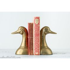 Mallard Duck Bookends Vintage ($30) ❤ liked on Polyvore featuring home, home decor, vintage home accessories, brass home decor and vintage home decor
