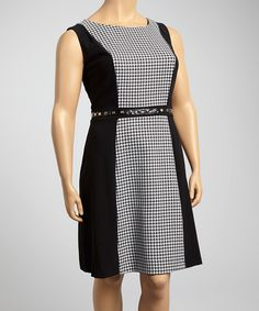 Look what I found on #zulily! Glamour Black & White Houndstooth Sheath Dress - Plus by Glamour #zulilyfinds