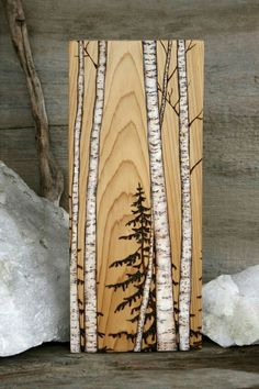 Birch Trees Art Block Wood burning -- with a little paint and Dakota& wood burning, we could totally make this! Birch Trees Art Block Wood burning -- with a little paint and Dakotas wood burning, we could totally make this! Wood Burning Crafts, Wood Burning Patterns, Wood Burning Art, Wood Crafts, Wood Burning Projects, Art Crafts, Woodworking Furniture Plans, Woodworking Projects That Sell, Kids Woodworking
