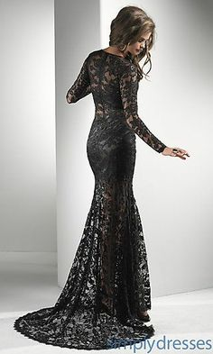 green and black lace prom dress | ... Sheath Lace Long Sheer Sleeve Evening/celebrity/pageant Dress Fl-p2718