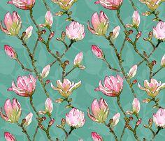 Jade_Magnolias fabric by rhubarb_and_rum on Spoonflower - custom fabric