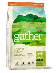 GATHER Endless Valley Vegan Recipe for Adult Dogs is a vegan dog food crafted with certified organic pea protein and other pure and natural ingredients.