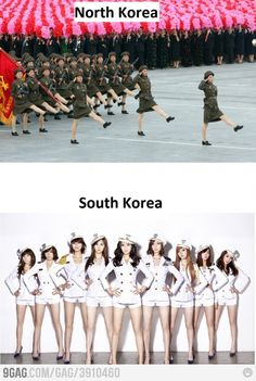 North Korea vs South Korea HAHA  SNSD! :P