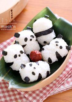 便當食譜,飯糰食譜-可愛的北鼻熊貓飯糰 #bento