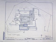 Frank Lloyd Wright - Storer House Blueprint by BlueprintPlace on Etsy