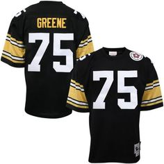 Men's Pittsburgh Steelers Joe Greene Majestic Black Hall of Fame Eligible Receiver II Name & Number T-Shirt