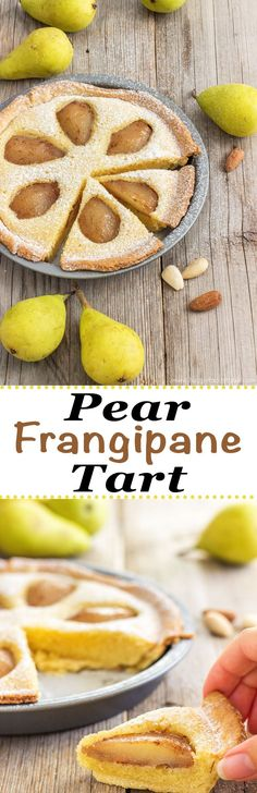 """Rustic Pear Frangipane Tart! Have you ever tried it? Poached pears, almond filling, and shortcrust pastry! It's rustic because it is nowhere near perfect-looking, but that's the beauty of """"being"""" homemade!"""