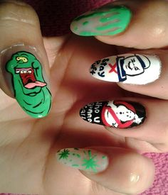 If you love nail art then check out these 20 hilarious and nerdy nail designs. Crazy Nails, Love Nails, How To Do Nails, Nail Art Diy, Cool Nail Art, Diy Nails, Nail Art Designs, Crazy Nail Designs, Nail Art Halloween