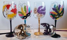 Hand Painted Mardi Gras 19oz Wine Glasses set of 6 by PritzDesigns