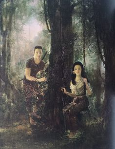"""""""Phra Wai courting the ghost of Wanthong in disguise as a beautiful lady"""", oil on canvas, 1974, by a Thai national artist Chakrabhand Posayakrit"""