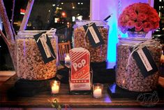 I love popcorn! Offering guests 3 different flavours in cute take-away bags. Great snacks and easy to take at the end of the night for the ride home!