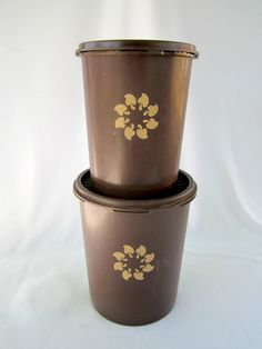 Tupperware Brown Canister Set Vintage Tupperware by GOSHENPICKERS on Etsy