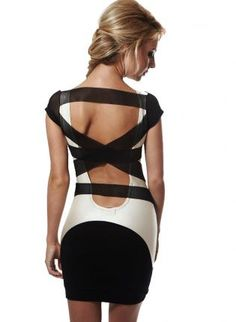 Quontum Black and Cream Bodycon Dress with Mesh Strap Back,  Dress, cutout strap back  party dress, Chic