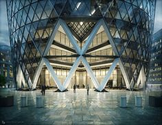 The Gherkin – Swiss Re London | Inspirations Area Croquis Archi, Swiss Re, 3d Architecture, Architecture Visualization, Contemporary Architecture, Norman Foster, Facade Design, 3d Design, Modern Buildings