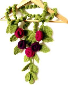 Felt scarf with flowers crochet knit freeform by allmadewithlove