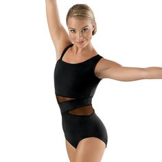 Black mesh insets accent this dramatic one-shoulder leotard.