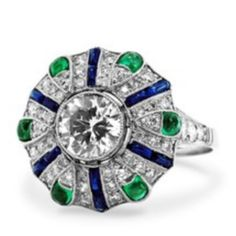 Vintage Diamond, Emerald and Sapphire Cocktail Ring