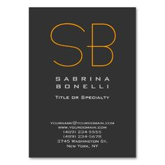Modern orange gray simple generic professional business card chubby gray orange yellow monogram business card reheart Images