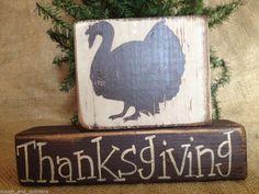 Primitive Country Turkey Thanksgiving Home Decor Fall Wood Sitter Block Set  #PrimitiveThanksgiving