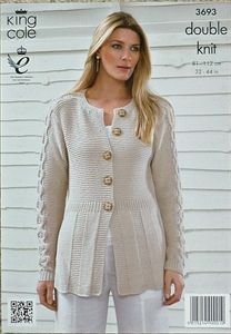 #KnittingPattern Ladies Garter & Cable Jacket Bamboo Cotton