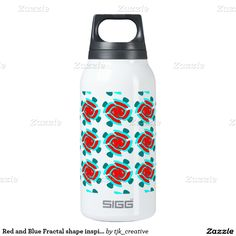 Red and Blue Fractal shape inspired design Insulated Water Bottle
