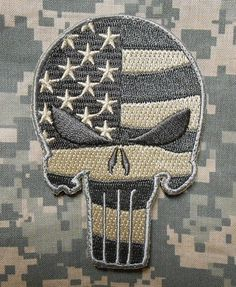 Punisher Skull USA Waving Flag Milspec US Army Morale ISAF Camo ACU Velcro Patch | eBay
