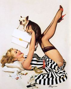 "Free US shipping Handprinted Cotton Art Reprodn Applique Vintage Sexy Pin-up Girl Gil Elvgren ""Lucky dog"" , 1958. $9.00, via Etsy. 
