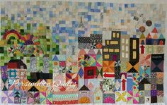 """""""My Small World"""" quilt made by Pam. Pattern by Jen Kingwell.  Longarm quilting by Le Ann Weaver of www.persimmonquilts.com"""