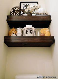 definitely need to do some floating shelves like this above the toilet!!... DIY $15 Chunky Wooden Floating Shelves | Desert Domicile