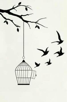 Trendy bird cage tattoo ideas 38 Ideas - - The bird cage is both a house for the chickens and a pretty tool. You can select whatever you need on the list of bird cage versions and get a lot more particular images. Girl Drawing Sketches, Art Drawings Sketches Simple, Pencil Art Drawings, Bird Drawings, Easy Drawings, Tattoo Sketches, Drawing Art, Beautiful Drawings, Cage Tattoos