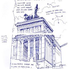 This freehand sketch effectively employs hatching to show depth and shadow in the buildings interior