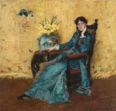 William Merritt Chase [American Impressionist Painter, Portrait of Miss Dora Wheeler, 1883 oil on canvas Cleveland Museum of Art (United States) American Art, Art Prints, Cleveland Museum Of Art, Artist, American Impressionism, Painting Prints, Stretched Canvas Prints, Art History, American Artists