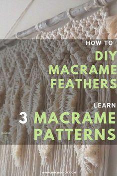 DIY Macrame Wall Hanging Using 3 Different Feather Patterns Macrame Hanging Planter, Hanging Planters, Diy Wall Painting, Macrame Curtain, Macrame Design, Feather Pattern, Macrame Projects, Macrame Knots, Plant Hanger