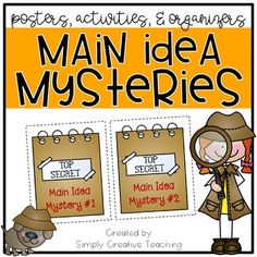 I created this product to use in my split 1st/2nd grade classroom when teaching main idea (CCSS RI.1.2 Identify the main topic and retell key details of a text and CCSS RI.2.2 Identify the main topic of a multi paragraph text as well as the focus of specific paragraphs within the text.)Included in this Main Idea pack:- Main idea anchor chart (color & black/white)- Main idea mystery bags activity: put clues into a TOP SECRET mystery bag or envelope, and students use the clues to figure out...