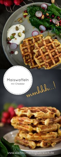 """Waffles always go and this spicy variant is made quickly and """"unfortunately"""" … - Snack Mix Recipes Recipe Maker, Snack Mix Recipes, Fabulous Foods, Polenta, Waffles, Spicy, Good Food, Brunch, Vegetarian"""