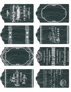 Free printable ~ 8 small, detailed chalkboard tags.