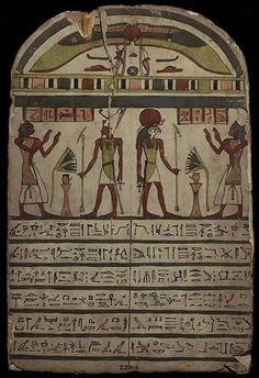 STELA OF BESENMUT, priest of god Montu. Made of Sycamore fig wood, paint on plaster. Middle 26th Dynasty, about 600 BC