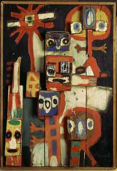 Vragende Kinderen, 1948.  Karel Appel was a Dutch painter, sculptor, and poet. He started painting at the age of fourteen and studied at the Rijksakademie in Amsterdam in the 1940s. He was one of the founders of the avant-garde movement Cobra in 1948.