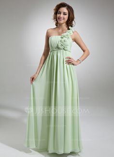 Holiday Dresses - $136.99 - Empire One-Shoulder Floor-Length Chiffon Holiday Dress With Ruffle Flower(s) (020016722) http://jjshouse.com/Empire-One-Shoulder-Floor-Length-Chiffon-Holiday-Dress-With-Ruffle-Flower-S-020016722-g16722